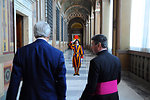 A Swiss Guard Salutes Secretary Kerry During his Tour of the Vatican