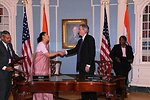 Under Secretary Burns and Indian Ambassador to the U.S. H.E. Meera Shankar Shake Hands