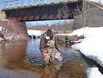 Matt Symbal electrofishing the Rock River, Alger County MI.