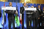 Secretary Kerry Listens as Syrian Opposition Council President al-Jarba Addresses Media