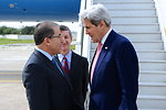Tunisian Foreign Minister Hamdi Greets Secretary Kerry Upon Arrival in Tunis