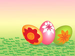Yellow pink easter eggs