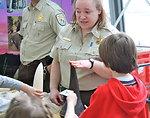 Wildlife Inspector explaining rhino horn