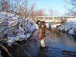 Service Employee Matt Symbal electrofishing in Wislon Creek, a tributary to the Big Garlic River, Marquette County, MI.