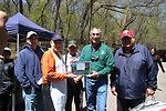 Longtime Volunteer of Kid's Fishing Day, Bob Jackson, Recieves Plaque of Appreciation from Regional Director Tom Melius
