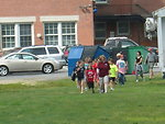 Kids arrive at local stream