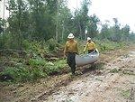 Firefighters' canoe transport