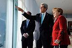 German Chancellor Merkel, Secretary Kerry Look Out at Berlin Landmarks