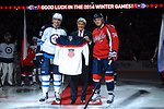 Secretary Kerry Poses After Ceremonial Puck Drop With U.S. Olympians Wheeler, Carlson