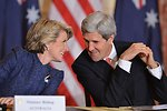 Secretary Kerry and Australian Foreign Minister Bishop Share a Laugh