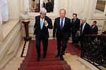 Secretary Kerry, Russian Foreign Minister Lavrov Walk to Ukraine Meeting in Paris