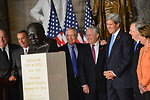 Secretary Kerry Poses for a Photo With Senate and House Leaders at the Dedication of a Bust of Winston Churchill