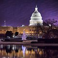 View from the Capitol Reflecting Pool of the Senate in session early this morning. #DC