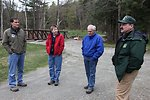 Dan Ashe, Jan Rowan Northeast Fish Passage Coordinator, Town Selectman Larry Strauss and Steve Roy from the US Forest Service
