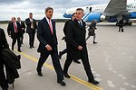 Secretary Kerry Is Greeted By Polish Defense Minister Siemoniak at the Lask Airbase