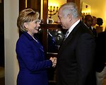 Secretary Clinton before her meeting With Israeli Prime Minister-Designate