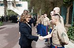 Mrs. Heinz Kerry Shakes Hands With Marine Security Guards
