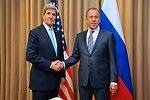 Secretary Kerry Shakes Hands With Russian Foreign Minister Lavrov Before Meeting on Ukraine in Geneva