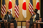 Ambassador Roos With Japanese Prime Minister Abe at the Joint Press Announcement of the Okinawa Consolidation Plan