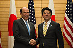 Ambassador Roos with Prime Minister Abe at the Joint Press Announcement of the Okinawa Consolidation Plan