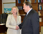 Secretary Clinton Shakes Hands With Greek Foreign Minister Venizelos