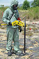A Vietnamese soldier demonstrates UXO detection and clearance in Danang. June 17, 2011