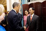 President Obama Shakes Hands With High-Ranking Indian Delegation Member