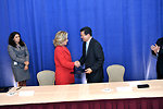 Secretary Clinton Shakes Hands With Salvadoran Prime Minister Martinez