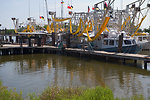 August 7, Shrimp boats near Leeville, La outfitted with oil boom