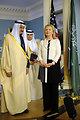 Secretary Clinton Poses With Saudi Arabian Defense Minister Salman