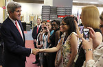 Secretary Kerry Shakes Hands With Embassy London Consular Staff