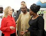 Secretary Clinton Is Greeted By Nigerian Ministers Ashiru and Onwuliri