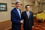 Secretary Kerry and Chinese Premier Li Shake Hands Before Their Meeting