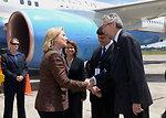 Secretary Clinton Is Greeted By Guatemalan Ambassador to the U.S. Villagran and Ambassador McFarland