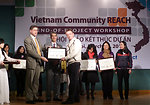 USAID, PEPFAR, and Pact award certificates to local and international partners for their work in addressing HIV in Vietnam