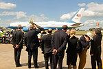 Ambassador Bleich, Consul General Thurston, and U.S. Mission Australia Staff Members Wave Goodbye to Secretary Clinton