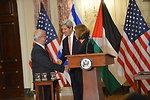 Secretary Kerry, Israeli Justice Minister Livni, and Palestinian Chief Negotiator Erekat Shake Hands