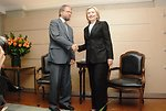 Secretary Clinton Shakes Hands With Colombian Presidential Candidate Antanas Mockus