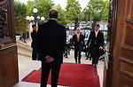 French Foreign Minister Fabius Greets Secretary Kerry