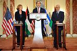 Secretary Kerry, Israeli Justice Minister Livni, and Palestinian Chief Negotiator Erekat Address Reporters