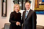 Secretary Clinton Shakes Hands With New Zealand Prime Minister Key