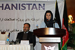 Minister of Women's Affairs Husn Banu Ghazanfar speaks at the final conference presenting the USAID Land Reform Project achievements in Kabul today