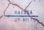 The distance and direction to Havana, Cuba, from the southernmost pier on Key West.