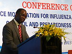 Dr. Babtunde Olowokure, WHO, speaks at the Conference on Resource Mobilization for Influenza A (H7N9) Prevention, Control and Preparedness in Vietnam