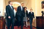 Secretary Kerry Walks With Ambassador McFaul and his Family