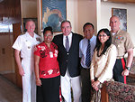 Assistant Secretary Campbell, Adm. Walsh, Brig. Gen. Simcock, and USAID Assistant Administrator Biswal Are Greeted By Kiribati Foreign Secretary Lambourne