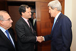 Secretary Kerry Shakes Hands With Colombian Peace Negotiator Sergio Jaramillo Caro