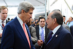 Secretary Kerry Chats With Dominican Deputy Foreign Minister Trullols