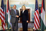 Secretary Clinton Shakes Hands With Jordanian Foreign Minister Judeh
