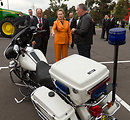 Secretary Clinton Learns About the Harley Davidson Motorcycle